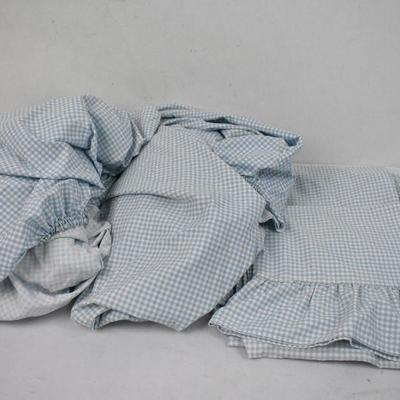 Vintage Gingham Blue Twin Sheets & 2 Pillow Cases