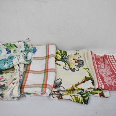 3 Vintage Pillow Cases, 2 Tablecloth, 1 Linen