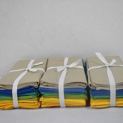 Set of 12 Napkins, 3 Packs, Multi Colored - New