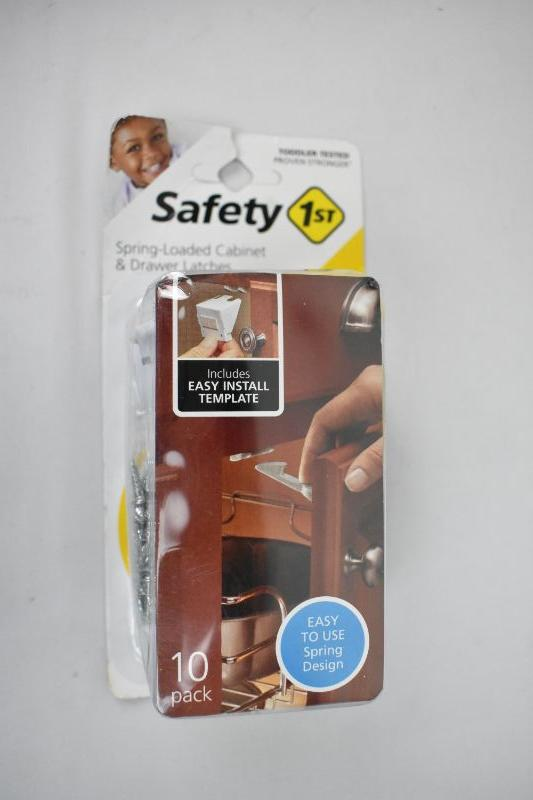 Safety 1St 10 Pack Spring-Loaded Cabinet /& Drawer Latches Easy Use Spring Design