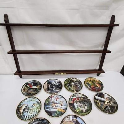 Nosy Neighbors 10 Plate Collection & Hanging Plate Stand, 1 Plate Broken & Glued