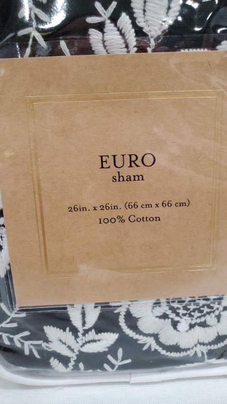 Cupcakes & Cashmere Folk Floral, Black & White Euro Pillow Sham, 1 Sham