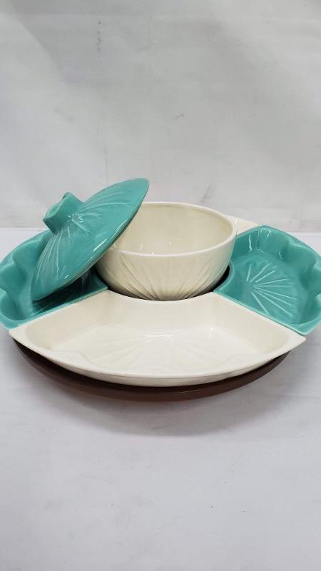 Mid Century Modern Hoenig Of Califonia 902 Laze Susan, Turquoise & Ivory, Relish & Dip Dish