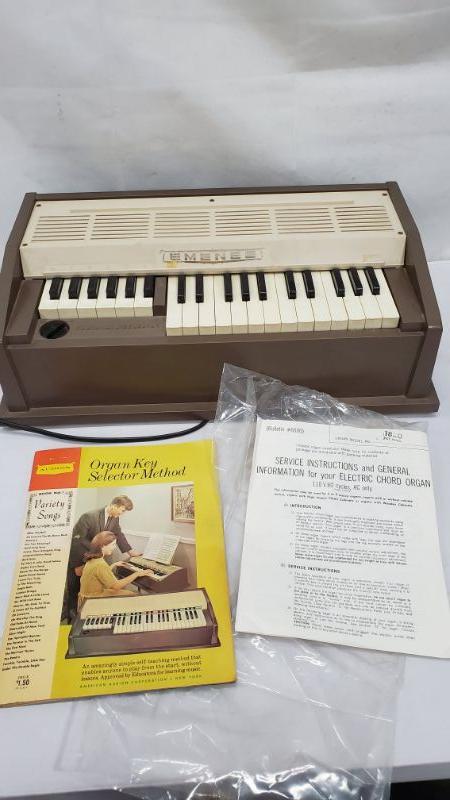 Mid Century Emenee Organ Keyboard, Vintage, 1960's, Air Cooling Works