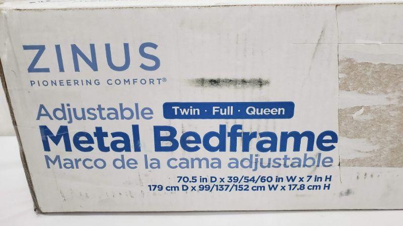 """Zinus 7"""" Low Profile Adjustable Steel Bed Frame, No Tools Assembly, fits Twin - Queen - New"""