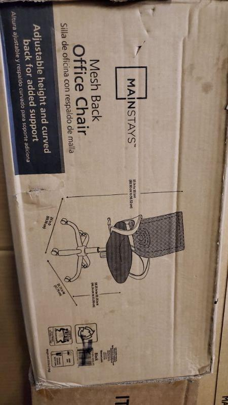 Mainstays Mesh Office Chair with Arms, Black, Box Damage - New