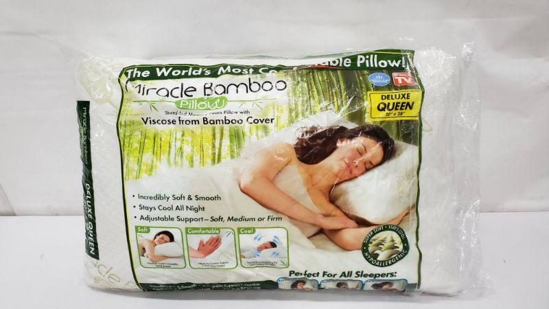 Deluxe Queen Miracle Bamboo Pillow, Open Pkg - New