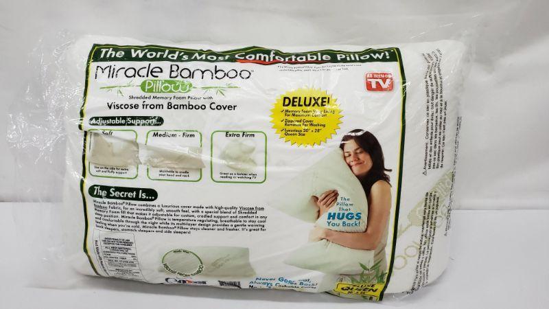 Deluxe Queen Miracle Bamboo Pillow, Open Pkg - New