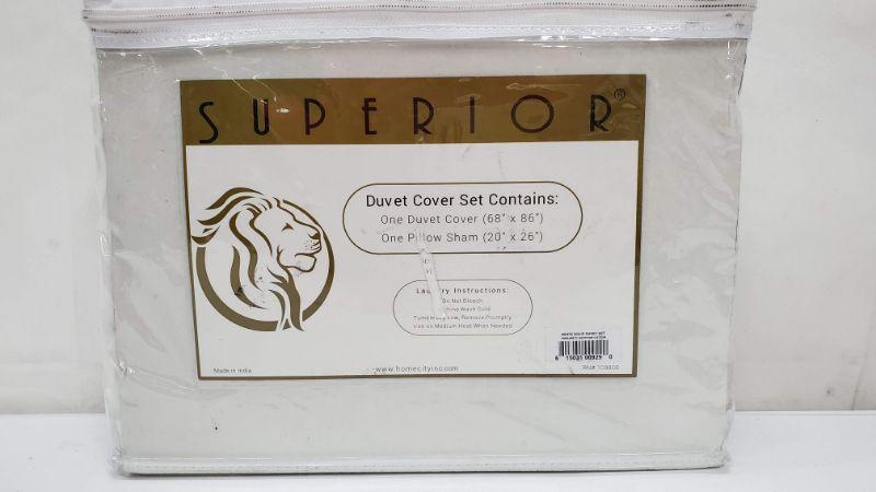 White Twin Duvet Cover Set, Contains 1 Duvet Cover/1 Sham, 650 Thread Ct, Pkg Open - New