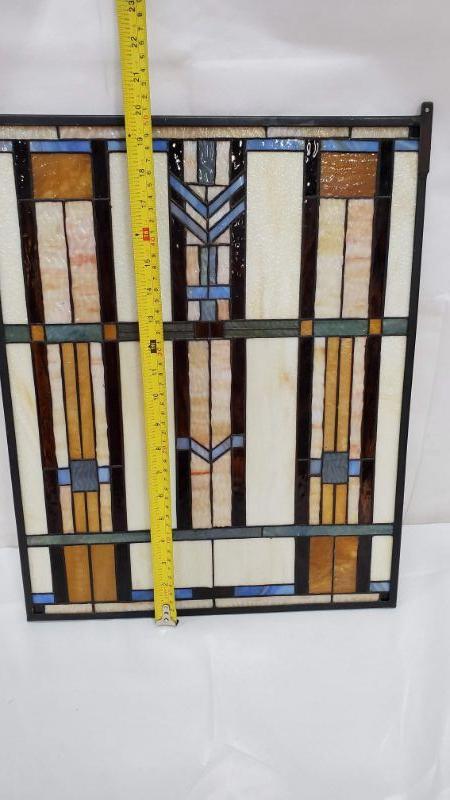 Craftsman/Mission Blue Chevron Stained Glass Window - Paul Sahlin Tiffany 1662
