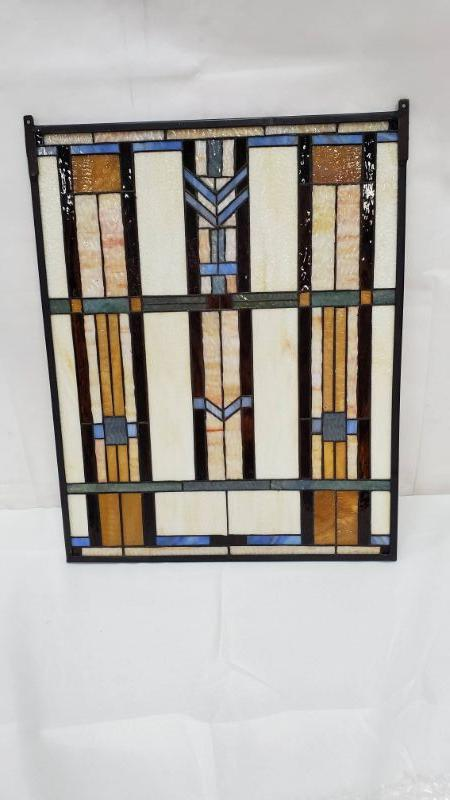 Craftsman/Mission Blue Chevron Stained Glass Window - Paul Sahlin Tiffany 1662