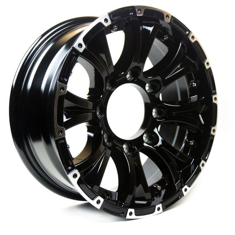 "Gloss Black Aluminum Trailer Wheel with Chrome Cap - 15x5"" 5 On 4.5 - New"