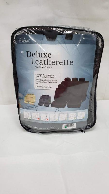 Deluxe Leatherette Car Seat Covers, Black, FH Group - New