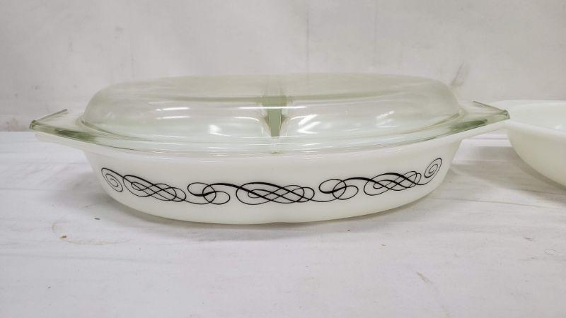 2 Mid Century Pyrex, 1.5 qt Black Scrolls Divided #17 & 1.5 qt Divided #1063