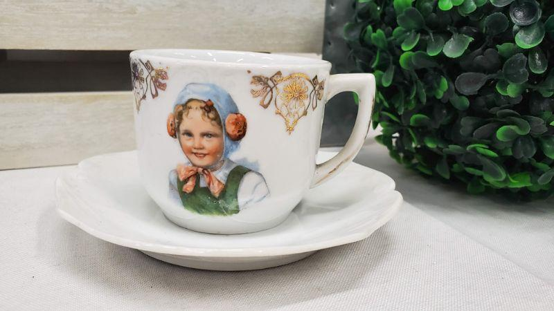 Vintage Little German Girl Small Teacup & Saucer, Made in Bavaria, Red Lion Seal