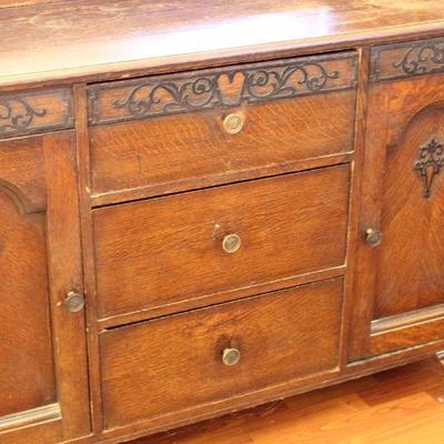 Lot 1 Antique Ornate Buffet/Sideboard