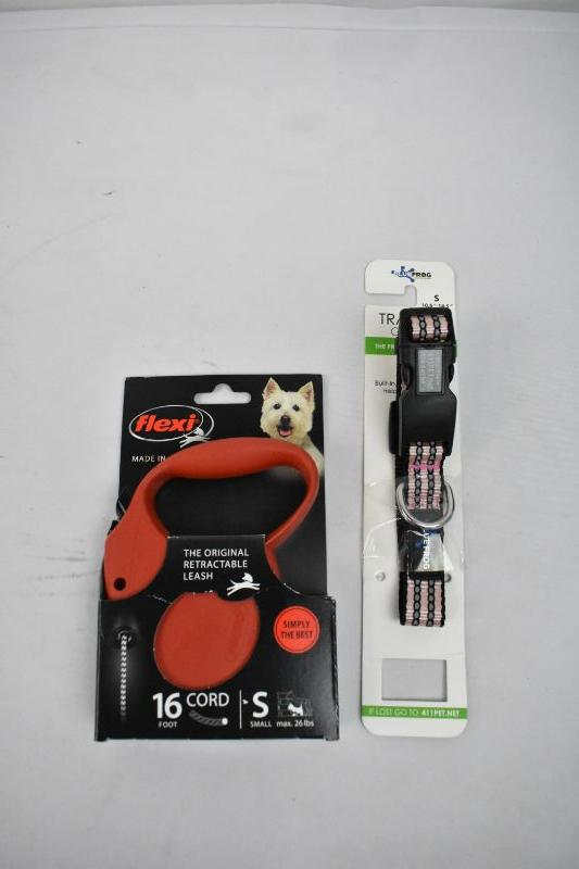 Track n Guard Collar Small, Flexi Retractable Leash Small - New