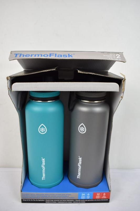 ThermoFlask Blue/Gray Vacuum Insulated Stainless Steel - New Damaged Box