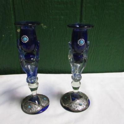 Lot 3 - 1 Pair Of Blue Art Glass Candlesticks
