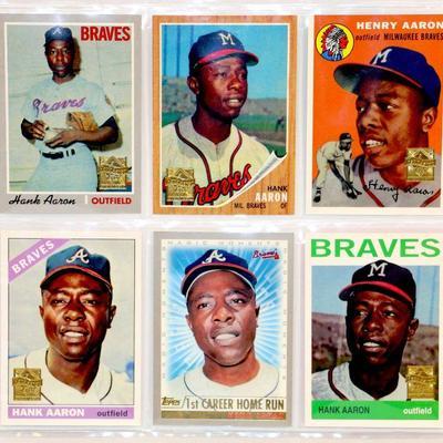 Hank Aaron Baseball Cards Set Lot Of 6 Topps Baseball Cards