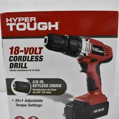 Hyper Tough 18 Volt Cordless Drill - Tested, Works, Complete