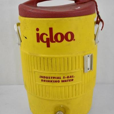 5 Gallon Igloo Drinking Water Cooler, Yellow & Red