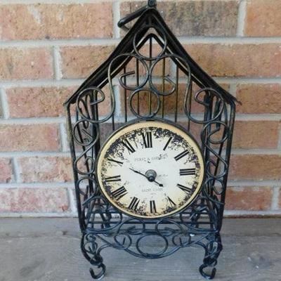 Beautiful Wire Cage Battery Operated Clock Well Constructed