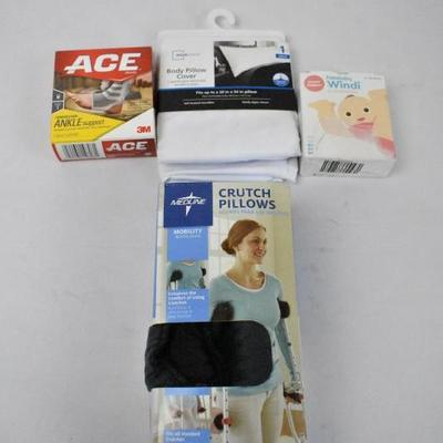 Misc Lot: Ace Ankle Support, Body Pillow Cover, Fridababy Windi, More - New