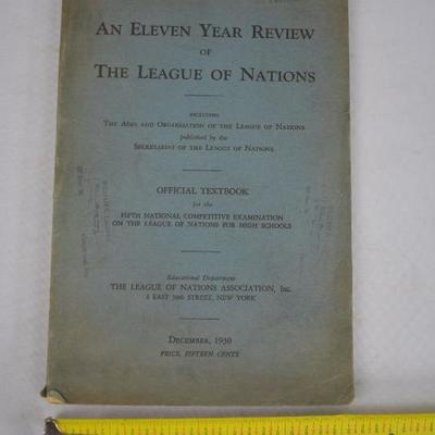 1930 Textbook An Eleven Year Review of The League of Nations