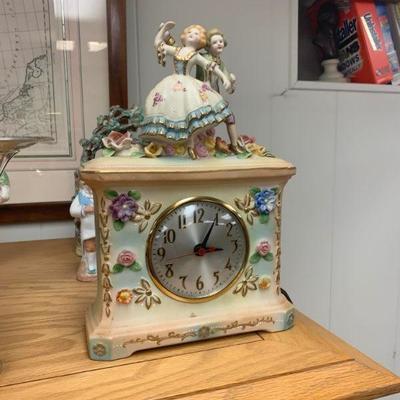 Vintage Occupied Japan Porcelain Dresden style clock-RARE