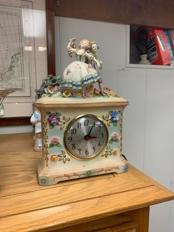 Vintage Occupied Japan Porcelain Dresden style clock- need to be retired, beautiful cosmetic condition. VERY RARE Shelf Clock