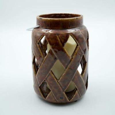 Lot 73 Brown Glass Lantern Candleholder