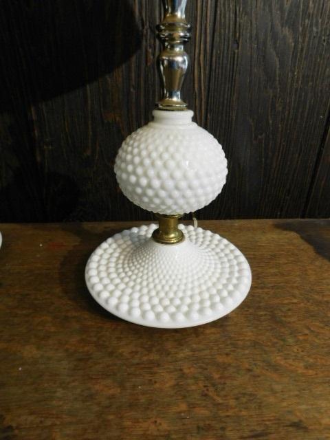 "Pair of Hobnail Milk Glass Dresser Top Lamps 17"""