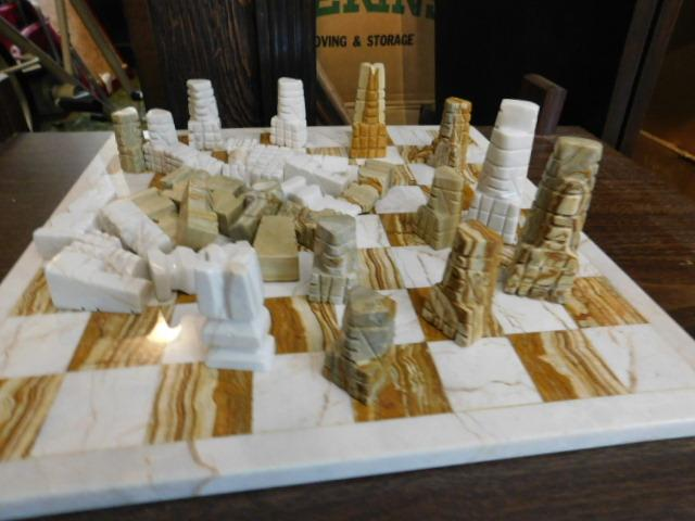 Carved Stone Chess Set with Stone Inlay Board