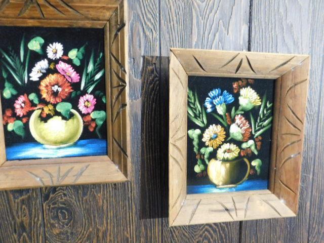 Set of Three Framed Hand Painted Centerpieces Still Life Art On Felt Canvas
