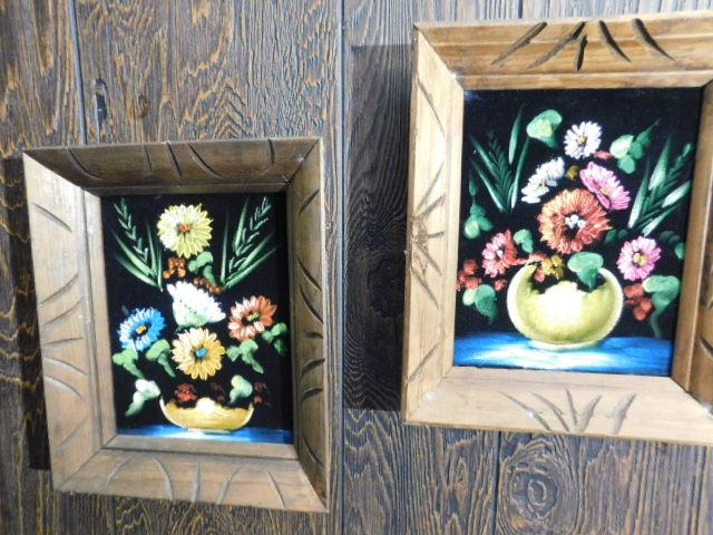 Set of Three Framed Hand Painted Centerpieces Still Life Art On Felt Canvas