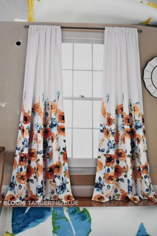 """Curtain Panels, Floral. Half Moon Room Darkening Insulated Window Coverings """"Percy Bloom"""" Two Panels 52"""" x 84"""" Each - New, Open Package"""