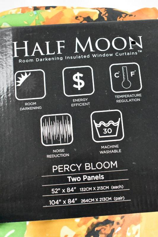 "Curtain Panels, Floral. Half Moon Room Darkening Insulated Window Coverings ""Percy Bloom"" Two Panels 52"" x 84"" Each - New, Open Package"