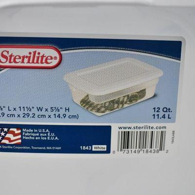 Qty 7 Sterilite 12 Quart Clear Bins with White Lids - New