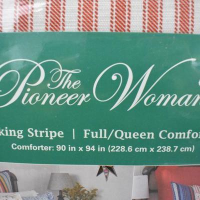 Pioneer Woman Full/Queen Comforter Red Ticking Stripe - New