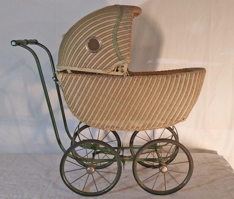 Wicker Baby Buggy, Foot board lays flat, rubber tires, see thru holes on sides, J.C. Penney 231-B-7 Mary Lou Plaything good condition