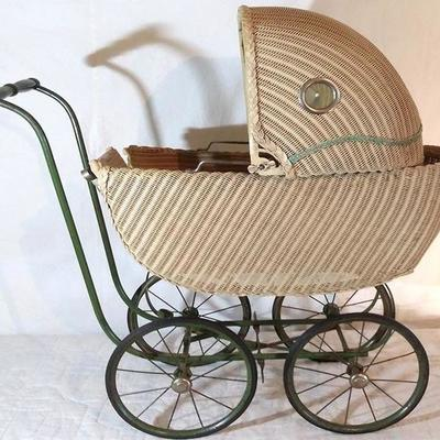 1-Antique Wicker Baby Buggy
