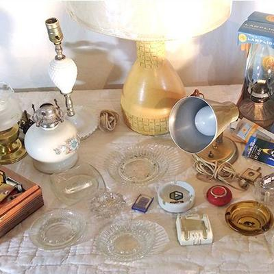 11-Small gold toned lamp plus additional items