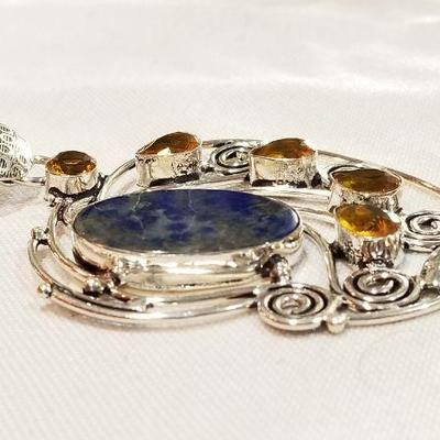 Bold, large Lapis pendant.