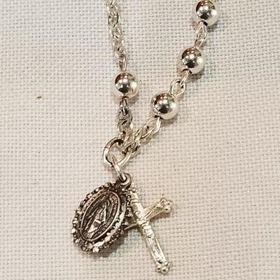 Sterling creed rosary bracelet