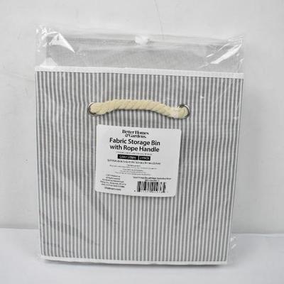 BH&G Fabric Storage Bins with Rope Handles, Gray Stripe 2 Pack - New