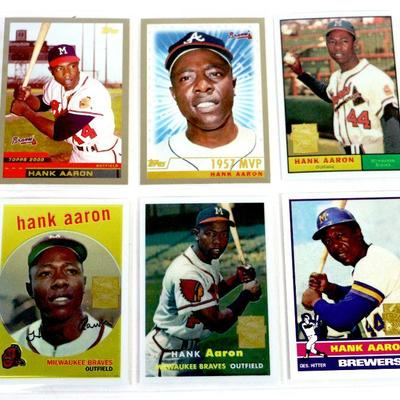 HANK AARON BASEBALL CARDS SET - Lot of 6 - Topps Baseball Cards