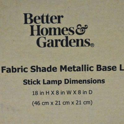 Better Homes and Gardens Fabric Shade Metallic Base Lamp - New