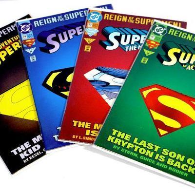 SUPERMAN Reign Of The Supermen COMIC BOOKS SET - DIE CUT COVERS 1993 DC Comics