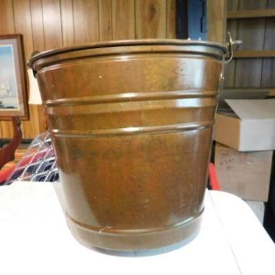 Copper Bucket Thick Gauge Wall with Handle Turkish Markings 8